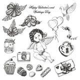 Комплект вектора нарисованного рукой винтажного собрания валентинки и дня свадьбы Стоковое Фото