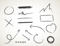 Комплект вектора нарисованный рукой на белой предпосылке - элементах с стрелками и элементами Стоковые Изображения RF