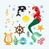 Комплект вектора на морской теме при русалки и морские животные сделанные в стиле шаржа Русалка с рыбами Русалка с рыбами и крабо Стоковые Изображения RF