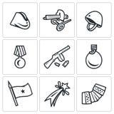 Комплект вектора дня победы в значках России Крышка гарнизона, пулемет, шлем, заказ, автомат, склянка, флаг, фейерверк иллюстрация штока