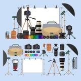 Комплект вектора объектов фотографии Элементы и значки дизайна оборудования фото в плоском стиле Цифровой фотокамера для Стоковые Фото