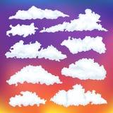 Комплект вектора облака шаржа Облака на предпосылке рассвета Стоковое Изображение RF