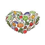 Комплект вектора овощей в форме сердца изолированного на белизне иллюстрация вектора