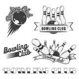 Комплект вектора логотипа клуба боулинга в винтажном стиле Ярлыки, значки и эмблемы Забастовка, шарики, ninepins Стоковые Фото