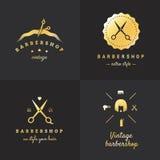 Комплект вектора логотипа парикмахерскаи золота Конструкция год сбора винограда часть 2 Стоковое фото RF