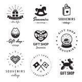 Комплект вектора логотипа сувенирного магазина и сувениров винтажный Битник и ретро стиль Стоковые Фото