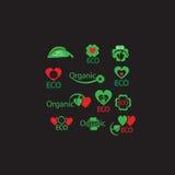 Комплект вектора органического, Eco, зеленые лист, естественные, биология, сердце, символы здоровья для веб-дизайна с местом для  Стоковая Фотография