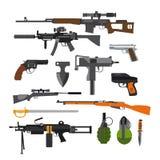 Комплект вектора оружий боя армии Иконы изолированные на белой предпосылке Оружие, винтовки, граната бесплатная иллюстрация