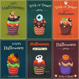 Комплект вектора пирожного Счастливый плакат помадок хеллоуина страшный иллюстрация штока