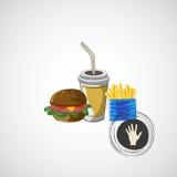 Комплект вектора питья фаст-фуда, бургера, жарит Стоковые Изображения RF