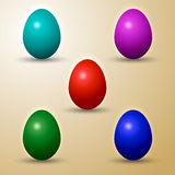 Комплект вектора покрашенных восточных яичек Стоковое Изображение