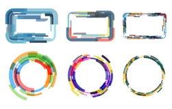 Комплект вектора покрашенных рамок от различных компонентов Стоковые Изображения RF