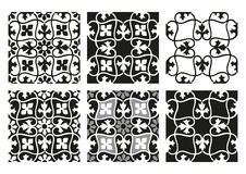 Комплект вектора предпосылок безшовных цветочных узоров черно-белых винтажных Стоковая Фотография RF