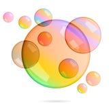 Комплект вектора прозрачных пузырей Стоковые Фото