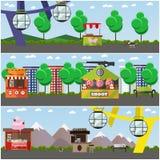 Комплект вектора плакатов концепции парка атракционов, знамен, плоского стиля Стоковые Изображения