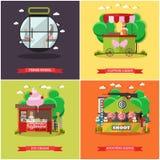 Комплект вектора плакатов концепции парка атракционов, знамен, плоского стиля Стоковые Фото