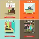 Комплект вектора плакатов atelier моды плоских Стоковое Фото