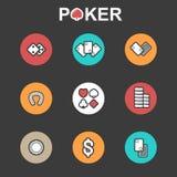 Комплект вектора плоских значков казино иллюстрация штока
