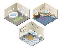 Комплект вектора равновеликий ico мебели ванной комнаты иллюстрация штока