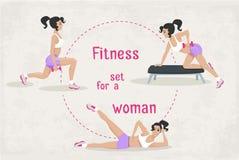 Комплект вектора разминки фитнеса работает для женщины Стоковые Фотографии RF