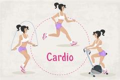 Комплект вектора разминки фитнеса Cardio работает для женщины Стоковые Изображения RF