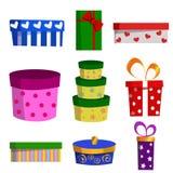 Комплект вектора различных подарочных коробок Стоковая Фотография RF