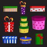 Комплект вектора различных подарочных коробок Стоковое Фото
