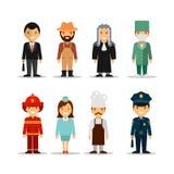 Комплект вектора различных характеров профессий людей Значки, воплощения и элементы дизайна в плоском стиле иллюстрация вектора