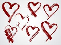 Комплект вектора рамок grunge в форме сердца Стоковое фото RF