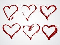 Комплект вектора рамок grunge в форме сердца Стоковые Изображения