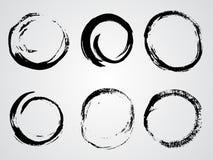 Комплект вектора рамок grunge круглых Стоковая Фотография