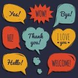 Комплект вектора речи клокочет в шуточном стиле Комплект нарисованный рукой окон диалога с фразами здравствуйте! да, свободным от иллюстрация штока