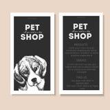 Комплект вектора рогулек зоомагазина Портрет собаки на шаблоне текста черного квадрата Черный информационный список Стоковое Фото
