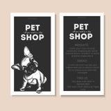 Комплект вектора рогулек зоомагазина Портрет собаки на шаблоне текста черного квадрата Черный информационный список Стоковое Изображение