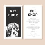 Комплект вектора рогулек зоомагазина Портрет собаки на шаблоне текста черного квадрата Белый информационный список Стоковое Изображение RF