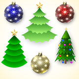 Комплект вектора рождественских елок и шариков иллюстрация штока