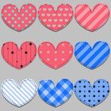 Комплект вектора розовых и голубых сердец Стоковые Изображения RF