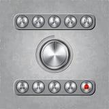 Комплект вектора ручек аудиосистемы на текстурированный Стоковые Фотографии RF