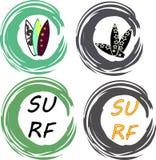 Комплект вектора серфера Винтажные элементы прибоя Стоковые Фотографии RF