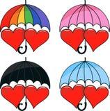 Комплект вектора 2 сердец под зонтиком Стоковые Фото