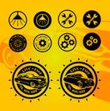 Комплект вектора символов автомобиля год сбора винограда Обслуживание автомобиля и значки продажи автомобиля Стоковое Фото