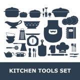 Комплект вектора силуэта инструментов кухни Стоковое Изображение RF