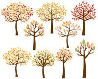 Комплект вектора силуэтов дерева осени Иллюстрация вектора