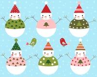 Комплект вектора снеговиков счастливого рождеств Иллюстрация вектора