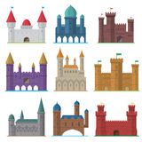 Комплект вектора старых плоских средневековых замков Стоковые Изображения RF