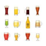 Комплект вектора стекла пива Стоковые Изображения RF