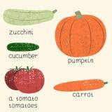 Комплект вектора стилизованных овощей Стоковая Фотография