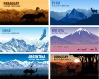 Комплект вектора стран Южной Америки panorams Стоковые Изображения