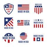 Комплект вектора сделанный в ярлыках и значках США на белой предпосылке бесплатная иллюстрация