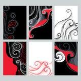 Комплект вектора с иллюстрациями дизайна в стиле dotwork Поставленная точки элегантность завихряется в красных, черно-белых цвета иллюстрация вектора